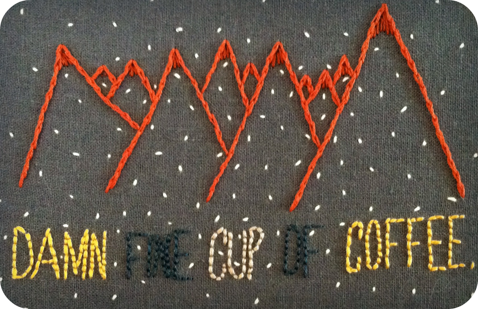 Twin Peaks Pie Quote: Twin Peaks Embroidery (Damn Fine Cup Of Coffee)